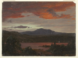 Horizontal view of a pond or small body of water shown in the foreground with dark trees at left and right. A small sail boat is visible at right.  A mountain, rendered in dark blue tones, is at center right, in background and a second, darker peak is shrouded in white clouds at left.  Red clouds at top against gray sky.