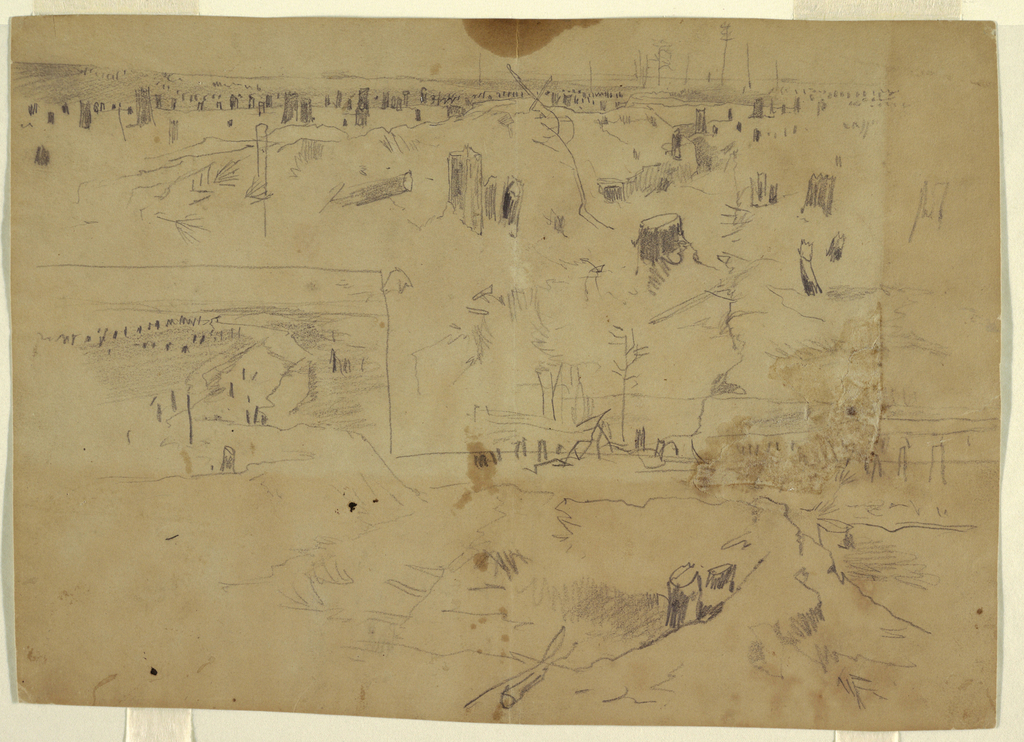 Recto: Two vertical sketches of countryside with tree-stumps; drawn at Petersburg, Virginia.   Verso: Vertical sketch of bust portrait of an officer shown in profile, to left.   Two views of landscape: battlefield with tree stumps. View on lower left side separated from view on upper half and right side by graphite line across center. VERSO: Profile of man wearing hat and military jacket with right hand inserted into coat front. Sketch of sleeve of Confederate officer's uniform below him.