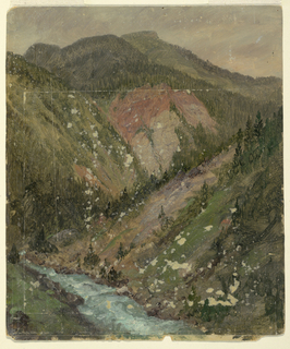 View of wooded or rocky mountains. A stream is shown below at left.