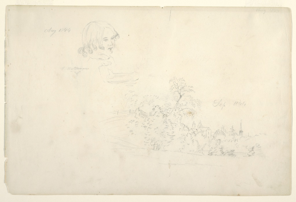 Recto:  Horizontal sheet containing upper torso of a child and his right forearm, turned to the right, at upper left of sheet and distant spires and towers of a village behind trees at lower right. Verso: Two elm (?) trees, one in leaf and the other barren.