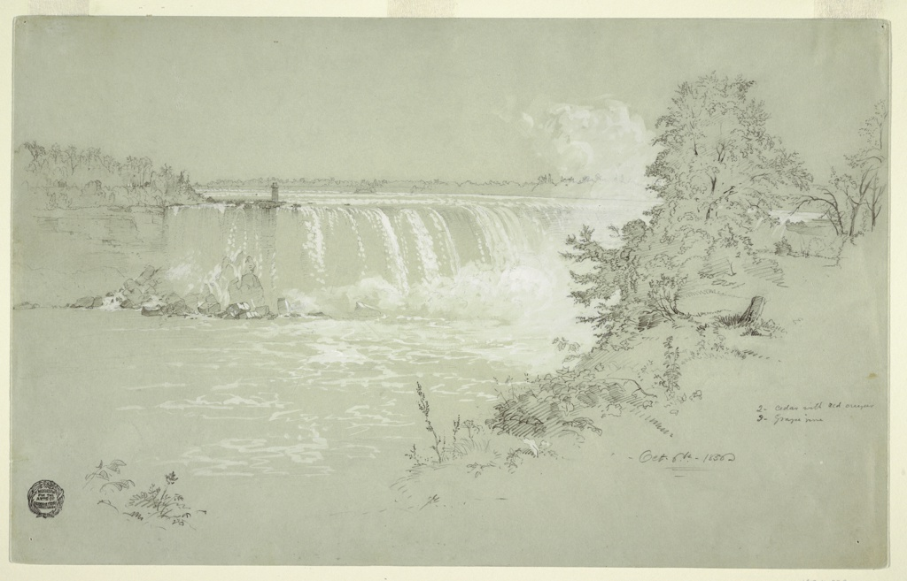 Part of Goat Island, and the Canadian Falls are shown from the Canadian bank. Trees and foliage are shown at right.