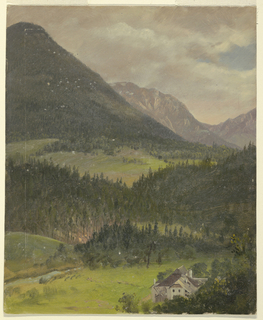 Oblique view of a richly wooded valley which rises toward right. Mountains are in the rear. A stately home is shown in the right foreground.