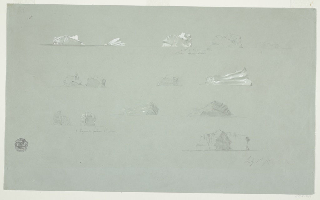 Sheet of graphite sketches of icebergs, each separately inscribed with notations.