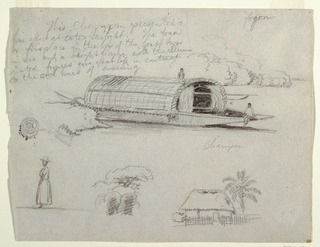 Square view showing at top: a river craft, beside the bank of a river, with two Indians seated on the bow and upon the cover respectively; at lower left a woman shown in profile turned toward the left; at right bottom a house with a fence in front and a palm beside it.