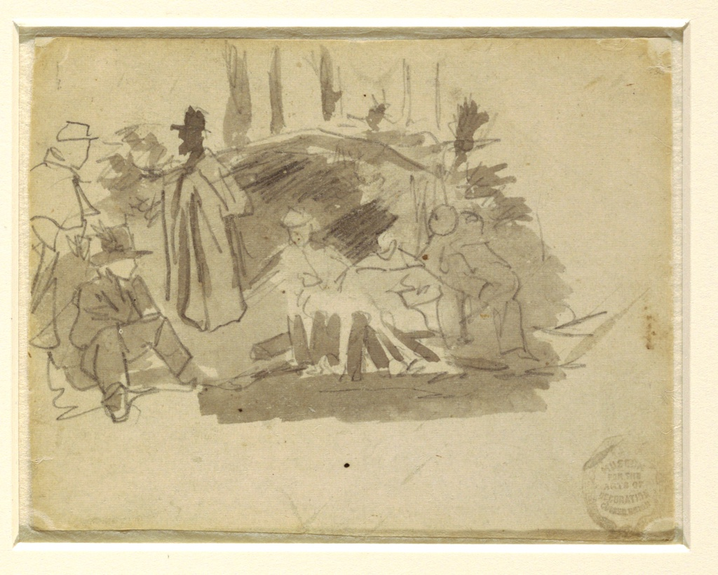 Recto: Horizontal view of soldiers gathered about a fire, with tent and trees in the background.