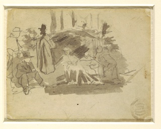Recto: Horizontal view of soldiers gathered about a fire, with tent and trees in the background.  Verso:  Vertical view of faint sketches of soldiers and trees.