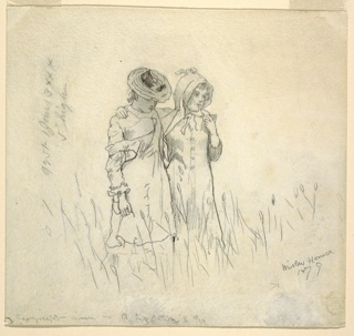 Two girls walk in a field, their arms around each other's shoulders, caught in a moment of quiet contemplation, as often chances upon friends caught on a lucid pastoral summer afternoon.