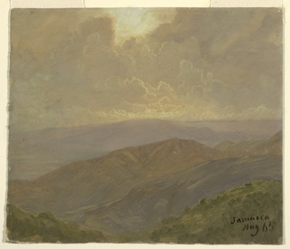 Distant vista over mountainous country