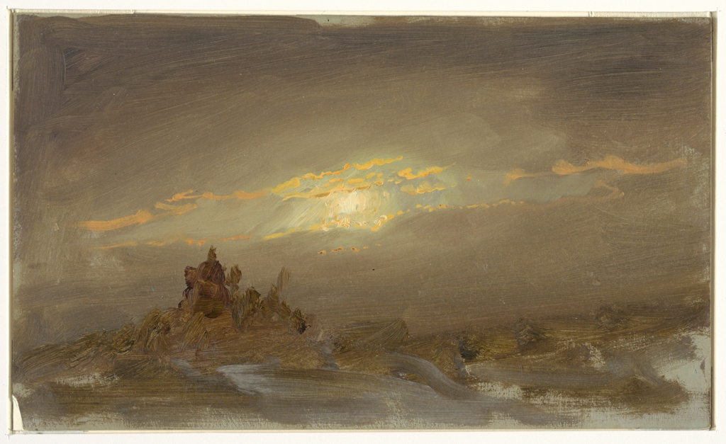 Hilly landscape with a group of pines in the left foreground. Full moon; cloudy sky.  Patches of grey ground visible near edges.