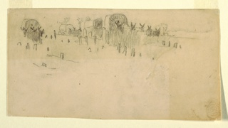 Recto:  Horizontal view of a train of army wagons drawn by mules.