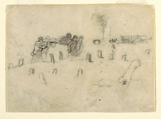 Horizontal view of stretcher-bearers carrying a wounded soldier across the ground containing tree-stumps, with army wagons in background.
