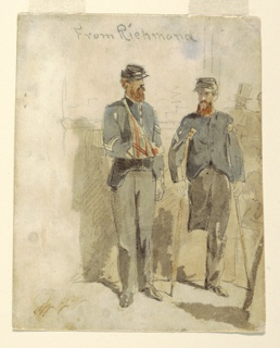 Two soldiers; one with right arm in sling, and the other on crutches, with his right leg amputated above the knee.