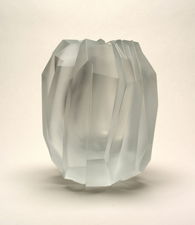 Mouth-blown crystal, heavy-cut and semi-polished, oil finish vase, reminiscent of ice.