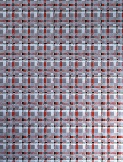 Small plaid of red, black, green, and white on a grey ground.