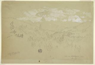 Drawing, View near Berchtesgaden, Bavaria, June 1868