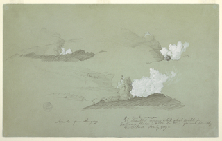 Drawing, Three studies of the Sangay Volcano, July 1857