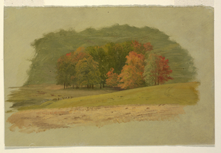 Horizontal view of a group of trees in autumn color stands in center middle ground.  Behind, a low hill sloping up to the right.  Remains of a fence, barely visible at bottom of hill in lower left quadrant; tracks from a cart (?) visible at top of hill in lower right quadrant.  Ground color exposed in margins on all four sides.