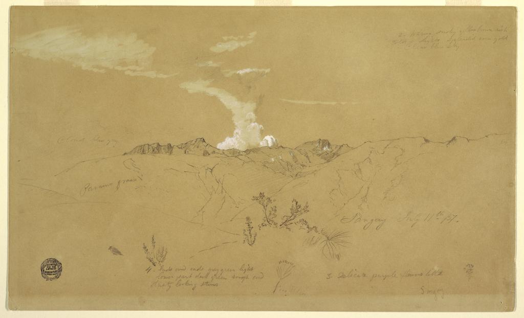 Drawing, Volcano, Sangay, July 11, 1857