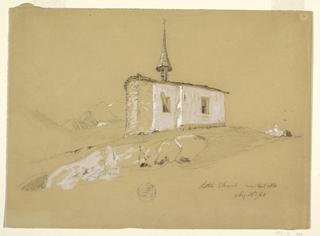 "Drawing, ""Little Church near Bel Arp"", Bernese Alps, Switzerland, August 28, 1868"