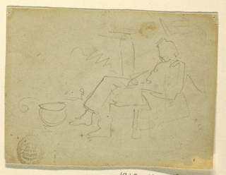 Horizontal slight sketch of a soldier sitting asleep before a fire.