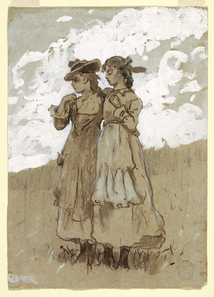 In a grassy field, beneath ligth white clouds, two young girls stand facing left, holding each other's shoulders.