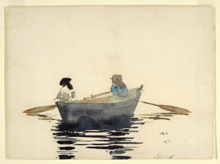 Two girls (female figures) in a rowboat rest in the middle of a river, each caught up in her own thoughts, the oars limp and neglected.