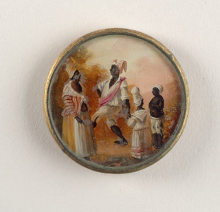 Button depicting scene of four figures in a landscape. A woman on the left wears a striped shirt and scarf, an orange and white skirt and turban; she faces man who is dancing (marching?) and wears a white shirt with pink sash and red and white scarf on head. Two smaller figures stand to the side watching.