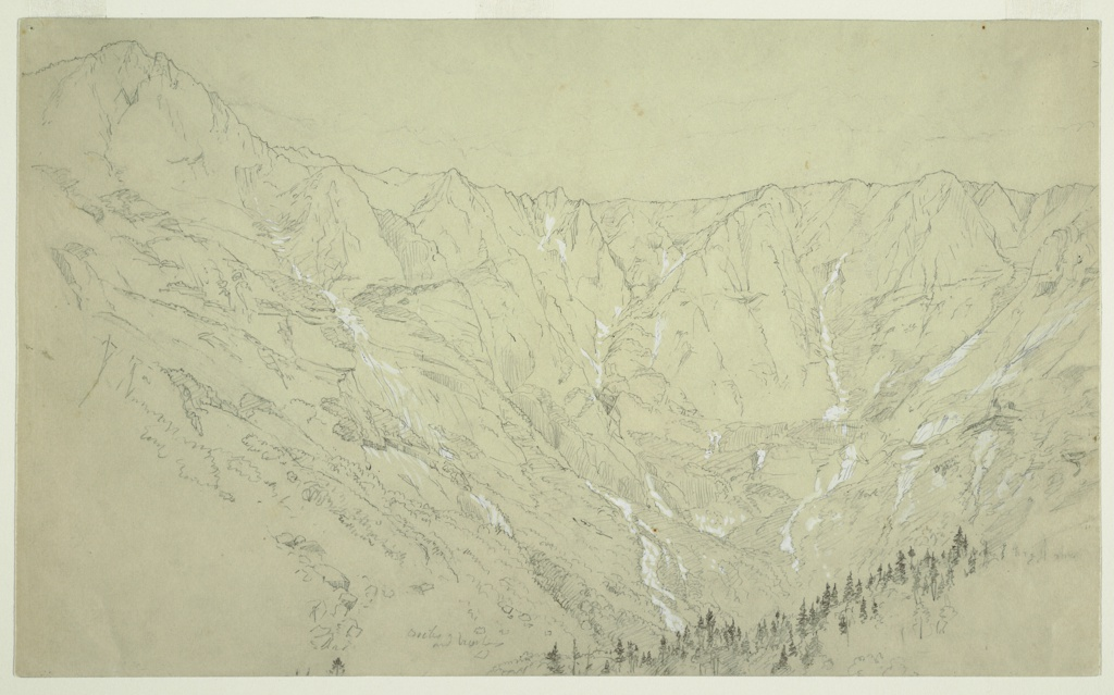 View of Great Basin with mountains across upper margin of paper. Lower right, trees.