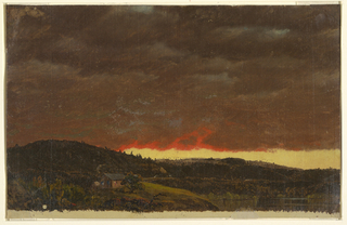 Hilly country with a lake in the right foreground, and a house and barn at left. Clear, yellow sky seen in a stripe on the horizon. Dark clouds reddened at the fringes with some patches of blue. Bottom margin, shiny creamy grounding color.