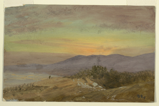 Drawing, Hudson Valley, sunset, 1869–70