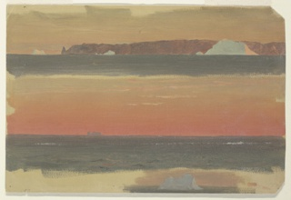 At top, a mountain range is shown from the sea with the point at left. Three icebergs float. Distant view of the cape. A margin at the bottom shows the grounding color. A floating iceberg is shown in the right center.