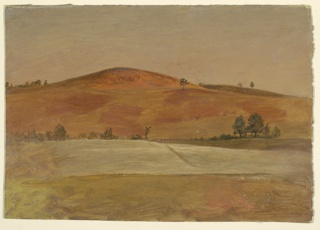 A low hill, rendered in russet tones is seen in the distance across cultivated fields which are bordered by a fence. A few trees are placed at left and right and across the ridge of the hill at left.