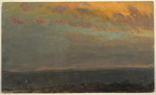 Horizontal view looking across a broad valley, with rolling distant hills (possibly the Hudson Valley).  The clouds in the foreground glowing pink in the light of the setting sun.   Verso: Pencil sketch of a log cabin