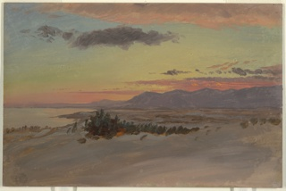 A snow covered plain is shown in the foreground and right middle distance. The Catskill mountains stretch from the right toward the left distance. Part of the Hudson River is shown in the left middle distance. The sky has light clouds with orange above the mountains and along upper edge.
