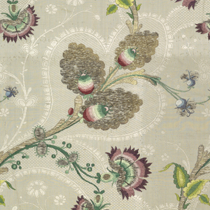 Woven silk with serpentine vine with exotic leaves and flowers brocaded in colored silks and silver and gold metallic threads. Secondary design of meandering vines in white on white ground.