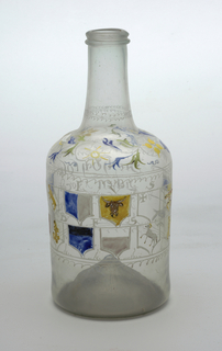 Clear glass bottle with 2 rows of sheild painted in blue, red, white & yellow