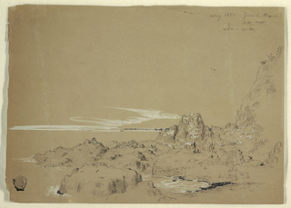 Horizontal view of the rocky coast shown at right forming a cove with a sailboat in the middle distance.