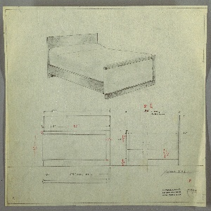 Design for bed. Above, perspective indicates planar headboard extending to the ground; planar rails connect head- and footboards. Footboard is asymmetrical: central panel framed above, below, and at right by slightly indented secondary contrasting material that stops short of rounded left edge. Footboard supported by foot that runs its width and echoes its curved or angled corners. Below, at left and right, front and broken side elevation provide dimensions. Inscribed with Deskey No. 7393. Margins ruled in graphite.
