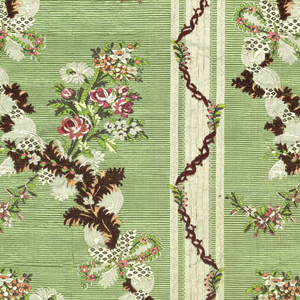 Parts of a dress. Pannier skirt with fronts of bodice; also a piece of the train. Compound fancy cloth ground of white taffeta with extra warp of apple green which appears in broad vertical stripes of horizontal ribbing. Brocaded designs of serpentine ribbons, in the white ground, and twining feathers, brown lines at their back are bouquets of realistically drawn flowers in red, green, rose and white silk, and rose chenille.