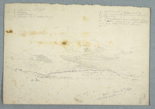 Drawing, Landscape in the Hudson Valley; verso: Sketch of church with tree naves, June 14, 1870