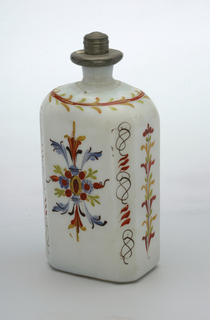 White glass with painted decoration, squareish shape with angular corners