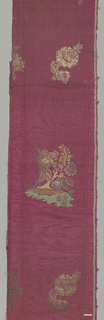 Magenta moiré with horizontal repeat of a man bending over a bush with large flower and fruit. Man and bush are in colors of tan, green, blue and gold metallic thread. Alternates with floral sprigs in gold metallic thread. Probably used for a cope.