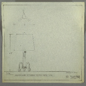 Design for table lamp. At lower left, elevation view shows lamp with cylindrical body supported by three inverted U-shaped, tubular legs resting on spherical feet. Shade is truncated cone and top finial is spherical as well. Above, plan view. Inscribed with Deskey No. 373. Margins ruled in graphite.