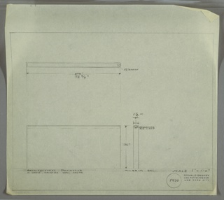 Design for architectural light reflector in painted wood for Milgrim Gallery. At upper left, plan shows narrow rectangular volume with curved front right corner. Below, elevation view with dotted line indicating recessed reflector at top edge of object, which would be painted to match gallery wall color; at lower right, side elevation shows light reflector of inverted mushroom shape. Margins ruled in graphite. Inscribed with Deskey No. 8430.