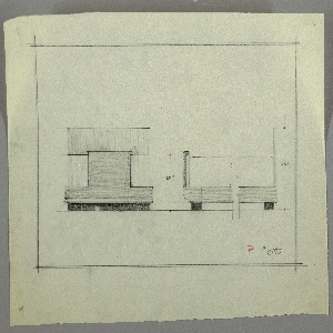 """Design for bed. At left, front elevation describes frame with planar headboard and footboard, the former taller than the latter. Footboard features upside-down T shaped element with wide vertical segment, in contrasting material, whose arms extend beyond width on either side. Feet are wide rectangular volumes. At right, broken side elevation indicates that that """"T"""" wraps top edge of footboard. Side rails planar with curved front edge. Margins ruled in graphite. Inscribed with Deskey No. 8143."""