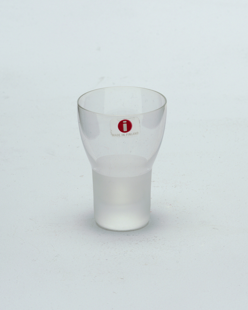 Clear glass goblet with frosted glass stem.  Cordial