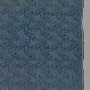 """Small scale leaf and flower motif which repeat to create vertical curves.  Length of repeat: 5.5 cm. [2-1/8""""].  Ten repeats across width of fabric.  Length of fabric placed side-by-side continue pattern."""