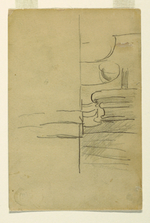 Recto: Horizontal view  of undetermined objects sketched on surface. Verso: Horizontal view of a portion of a railing.