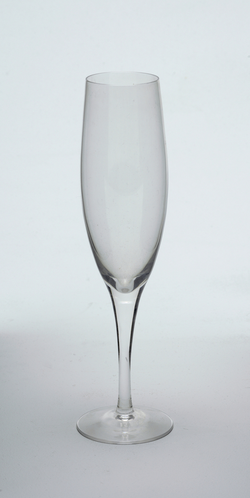 Clear glass champagne flute