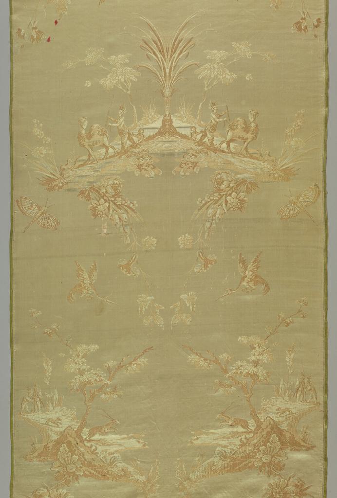 Design of flowers, birds, butterflies and scenes depicting men and animals.